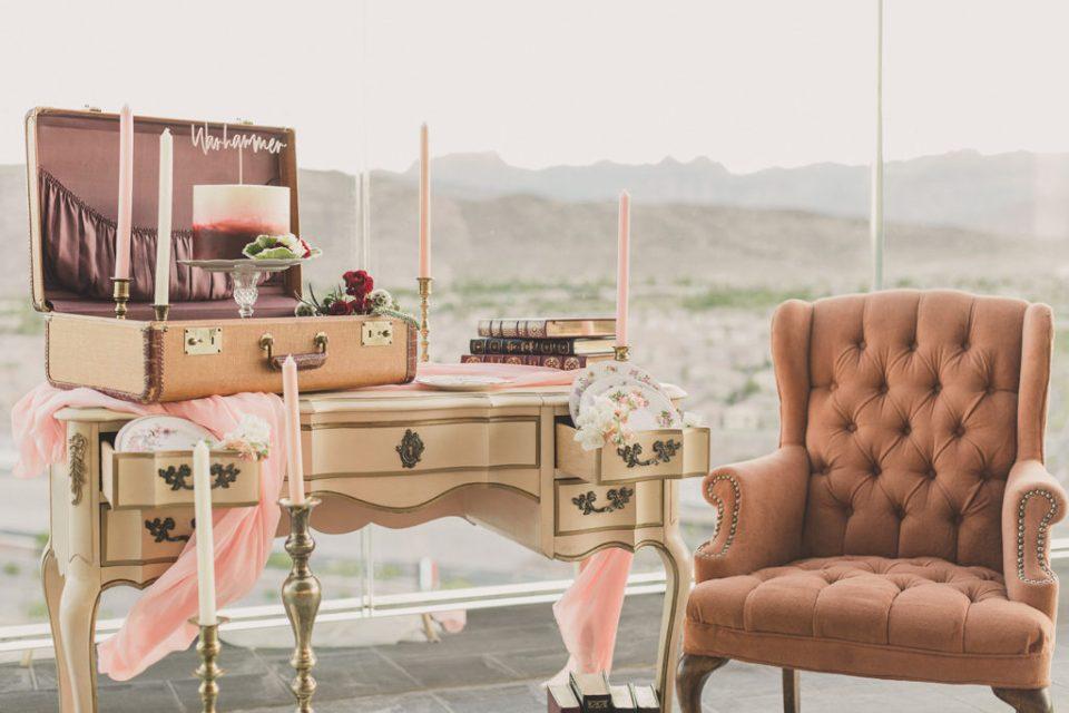 wedding elopement details overlooking Las Vegas at Red Rock Resort