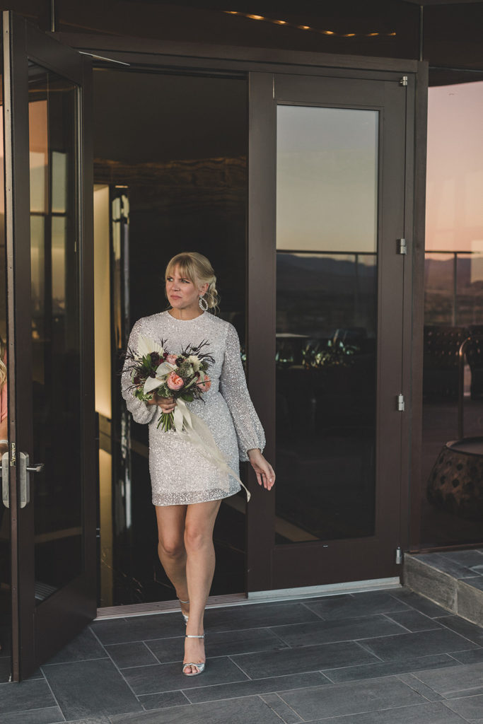 bride enters elopement ceremony at Red Rock Resort