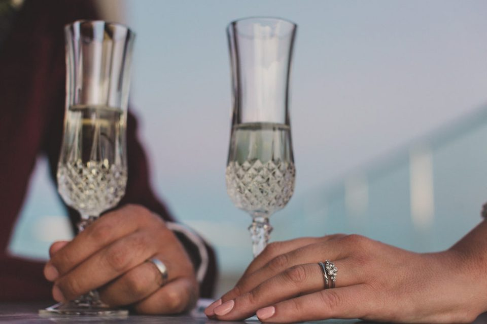 champagne toast in Las Vegas after elopement