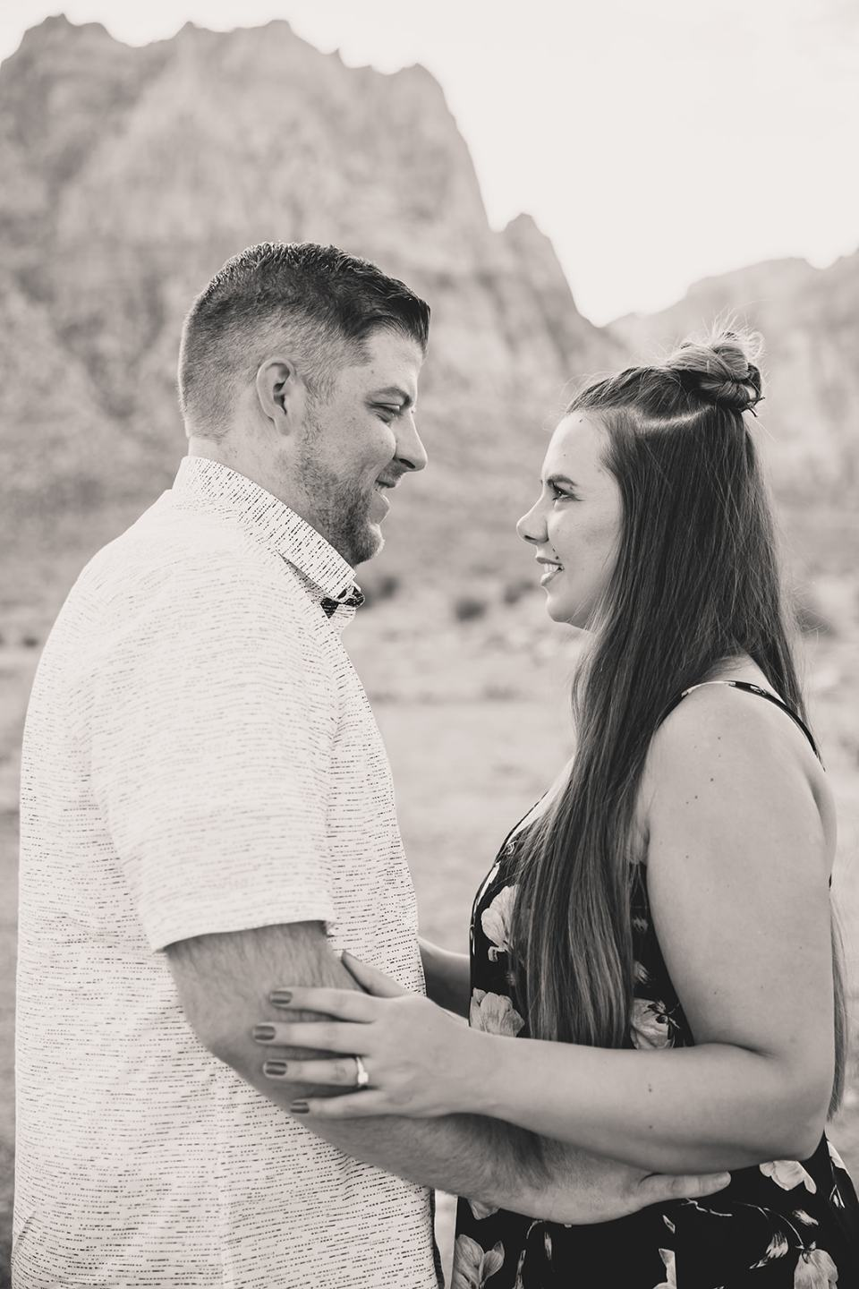 engaged couple smiles after proposal in Las Vegas