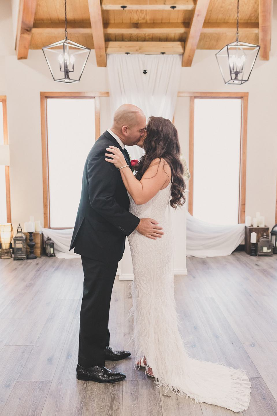 bride and groom kiss during elopement