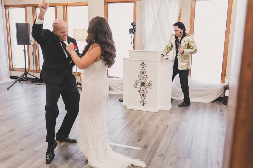groom cheers after elopement in Las Vegas