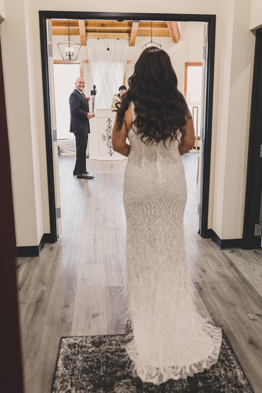 bride walks into chapel for Las Vegas elopement