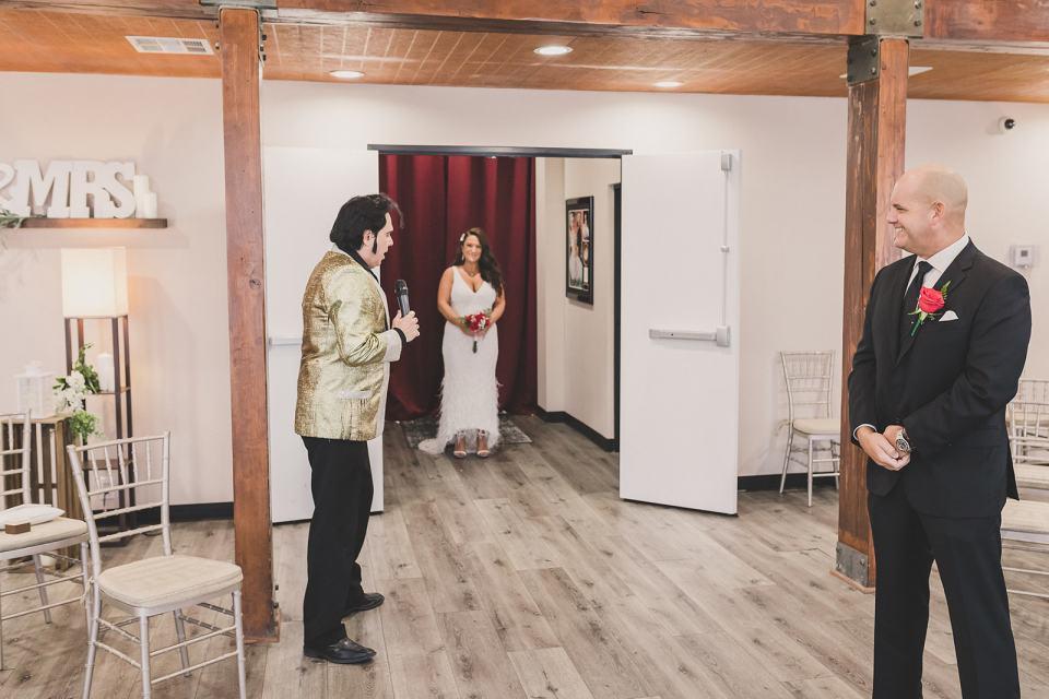 bride walks into Little Vegas Chapel