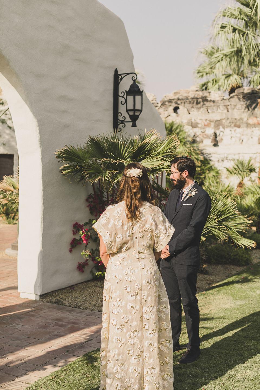 newlyweds exchange vows during Death Valley elopement