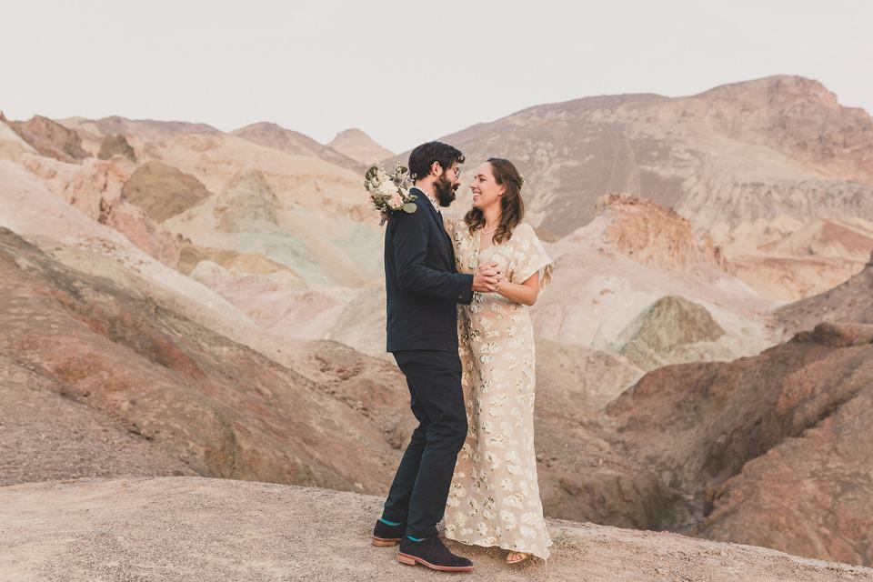 newlyweds dance at Zabriskie Point