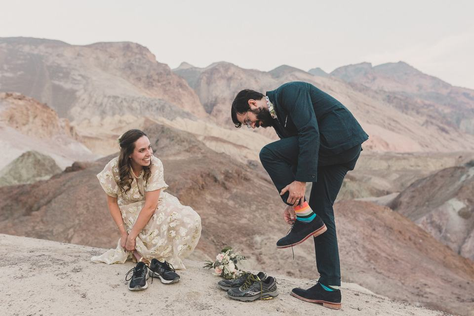 Death Valley elopement portraits of bride and groom
