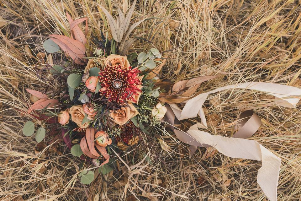 bride's bouquet on farm for Park City elopement