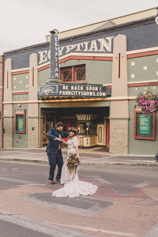 Utah portraits in street after elopement