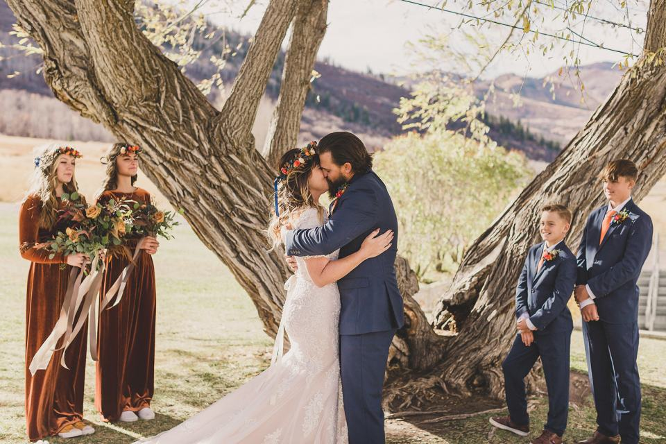 Park City elopement ceremony by tree