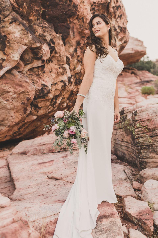 Red Rock Canyon bridal portrait in Las Vegas