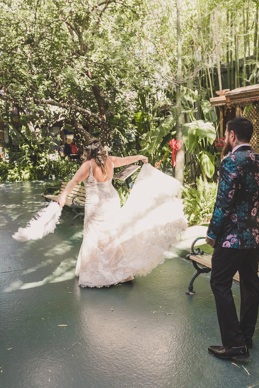bride twirls wedding gown during Las Vegas first look