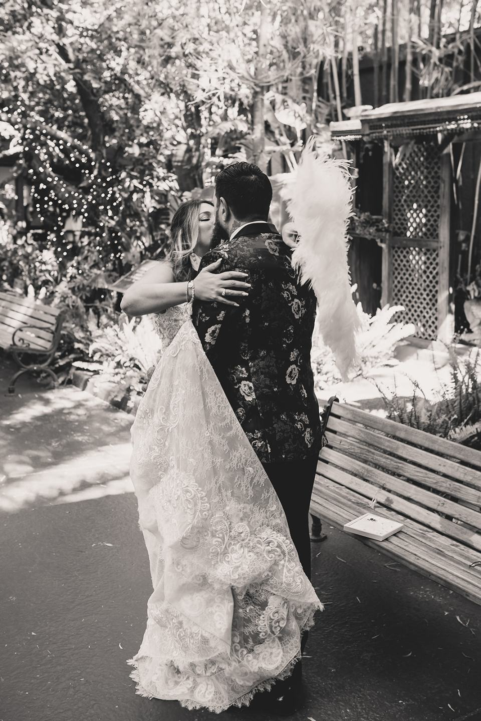 bride and groom kiss during first look in Las Vegas
