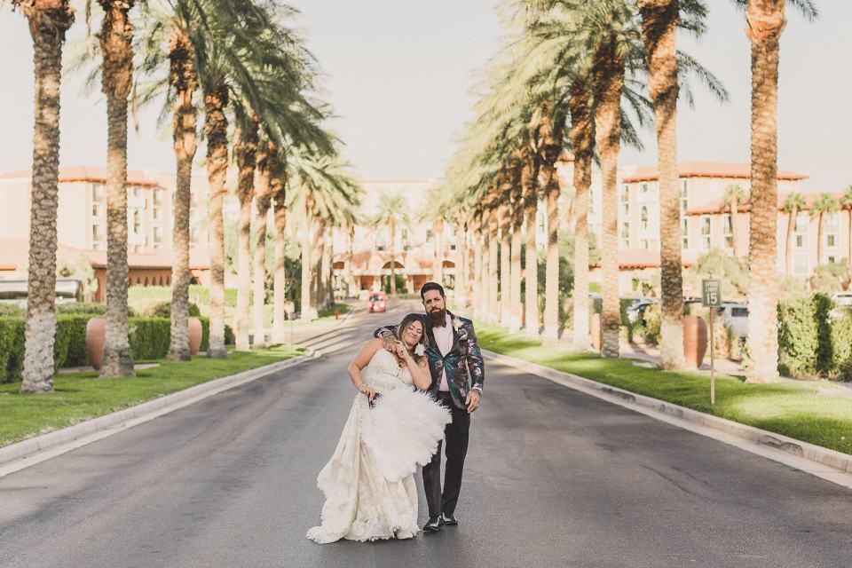 wedding portraits on street in Las Vegas