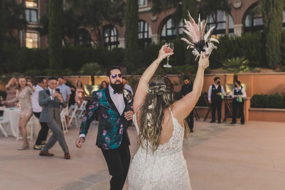 bride dances during The Westin Lake Las Vegas wedding reception