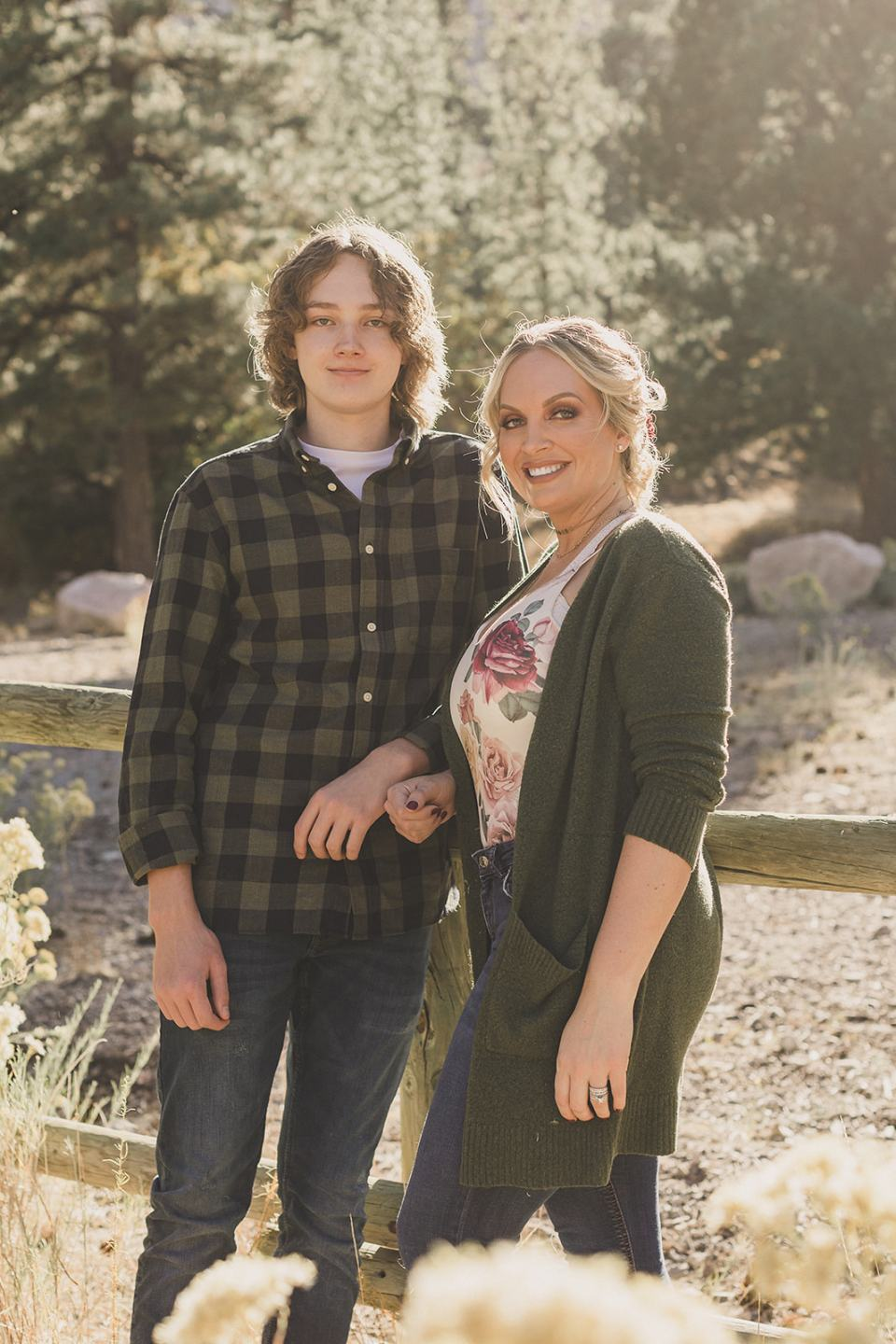 mom and son pose in Kyle Canyon during Mt Charleston Family Portraits