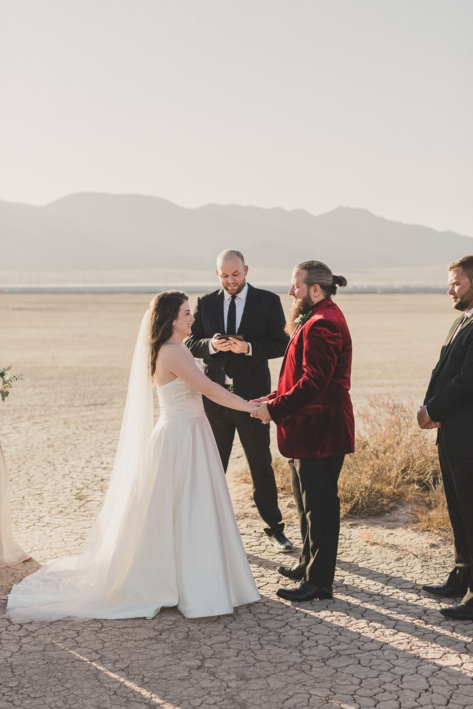bride and groom exchange vows during Las Vegas microwedding