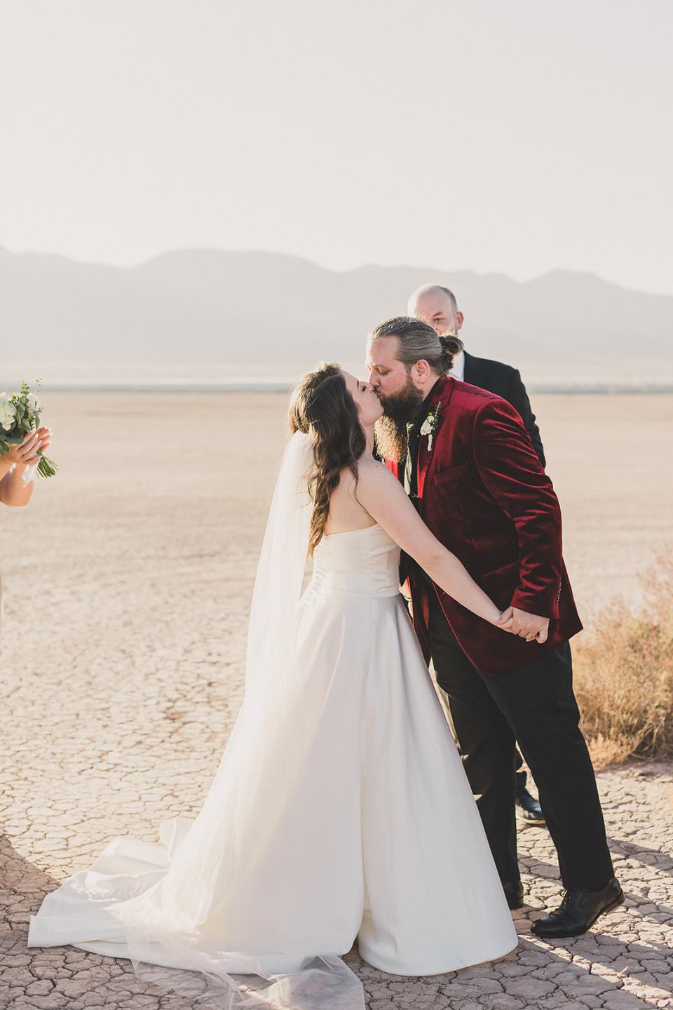bride and groom kiss during Las Vegas wedding