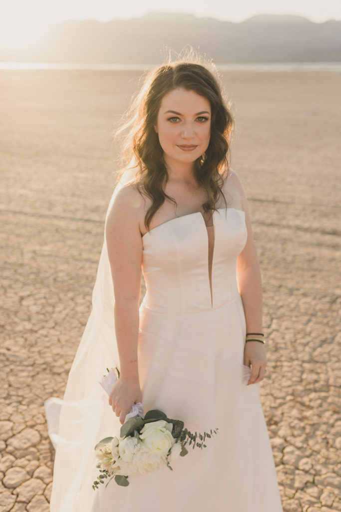 sunset desert bridal portraits after Las Vegas microwedding