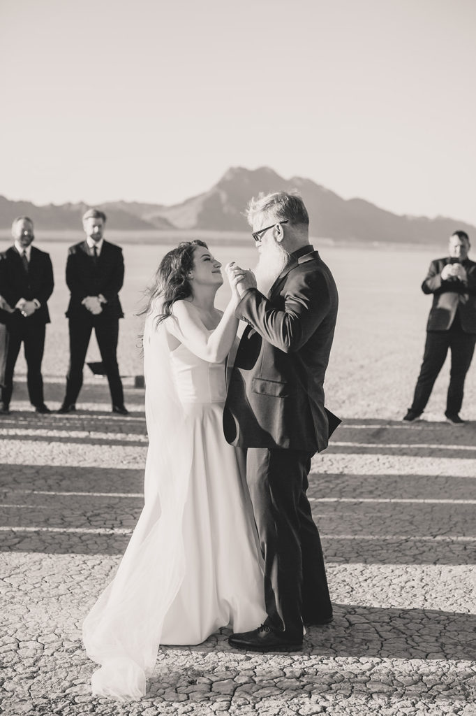 bride and dad dance during Las Vegas microwedding