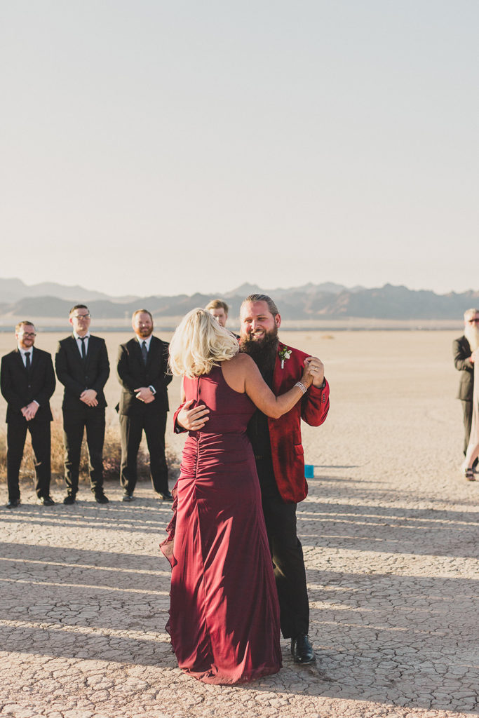 mother-son dance during desert wedding reception