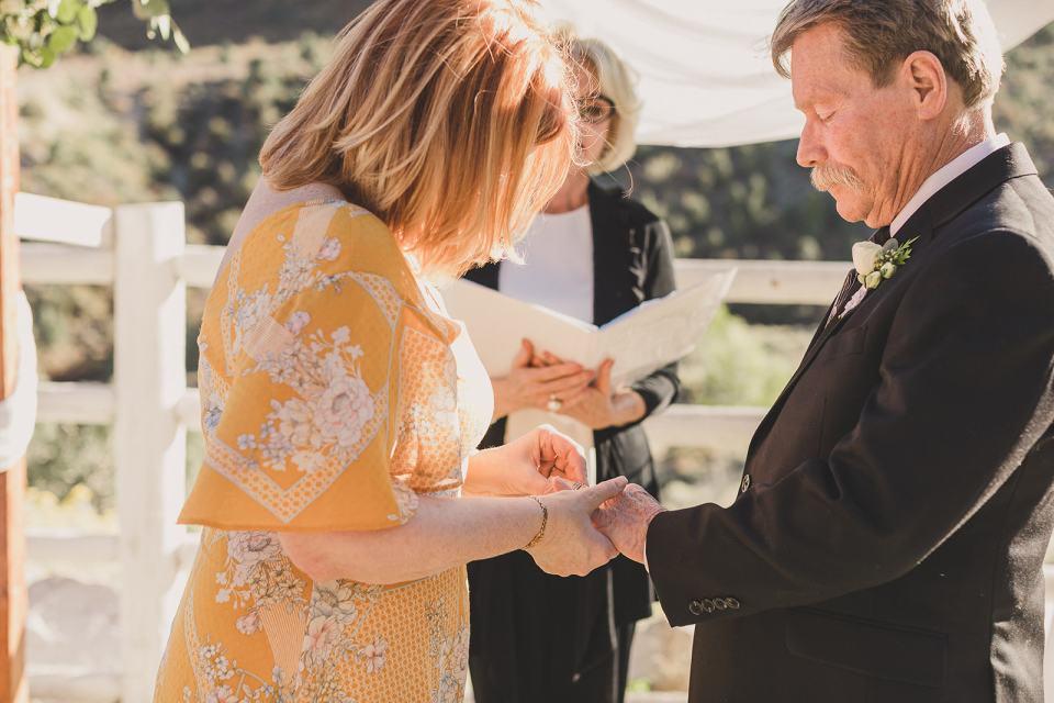 bride and groom exchange rings during Mt Charleston Lodge Microwedding ceremony