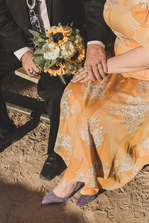 newlyweds hold hands sitting on Mt Charleston