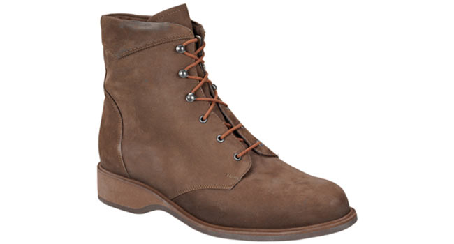 Ladies comfort Derby boot lace up brown