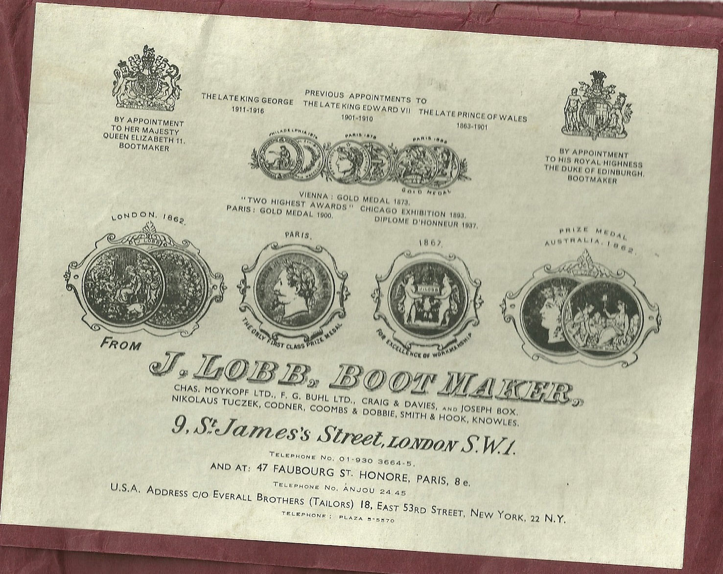 Lobb label showing other firms names