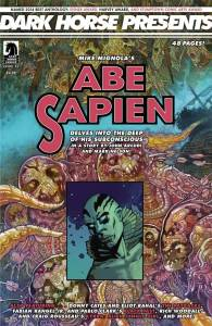 """DARK HORSE COMICS (W) John Arcudi & Various (A) Green Stephen & Various (CA) Mark Nelson   In a dream-oriented story that follows up on the correspondence Hellboy sent Abe Sapien in """"The Chained Coffin,"""" Abe responds to some of Hellboy's advice in a story by John Arcudi and Mark Nelson. Meet Donny Cates and Eliot Rahal's The Paybacks-the repo men superheroes really don't want to meet-in a prologue to their upcoming series! Witchcraft comes to mob land in Fabian Rangel Jr. and Pablo Clark's Black Past! Survive an exotic sci-fi jungle full of dangers in Rich Woodall and Craig Rousseau's Kyrra: Alien Jungle Girl! John Arcudi (W), Donny Cates (W), Eliot Rahal (W), Fabian Rangel Jr. (W), Rich Woodall (W), Dennis Calero (W/A), Ken Pisani (W), Mark Nelson (A/Cover), Stephen Green (A), Pablo Clark (A), Craig Rousseau (A), and Arturo Lauria (A)   Item Code: APR150020"""