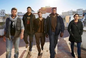 "FOR GOD & COUNTRY -- Season: Pilot -- Pictured: (l-r) Mike Vogel as Michael Dalton, Noah Mills as Joseph J. McGuire, Hadi Tabbal as Amir Al-Rasani, Demetrius Grosse as Anthony ?""Preach?"" Carter, Natacha Karam as Jasmine ""Jaz"" Ervin -- (Photo by: Jeff Riedel/NBC)"