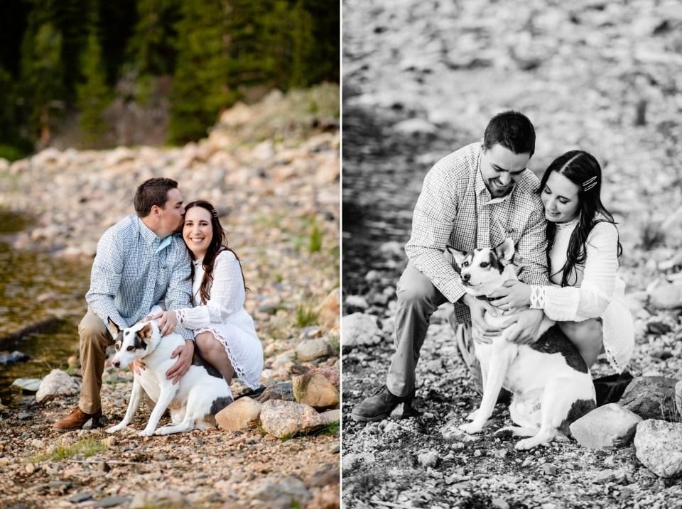 Colorado Mountain Lake Engagement portraits, Colorado Engagement photographer, engagement photos with dogs