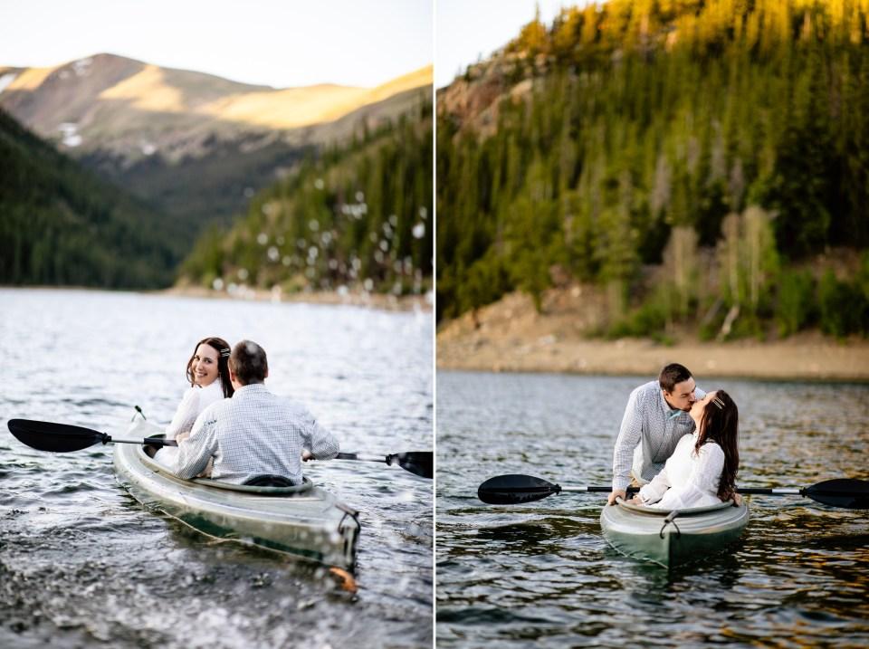 Colorado Mountain Lake Engagement portraits, Colorado Engagement photographer, engagement photos with dogs, engagement photos with canoe, engagement photos with kayak