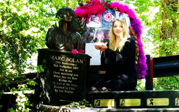 Taylor pays homage to Marc Bolan at his rock shrine in London, United Kingdom