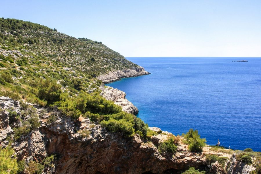 A view of the coast and Adriatic sea while hiking to Odysseus Cave, Mljet Island