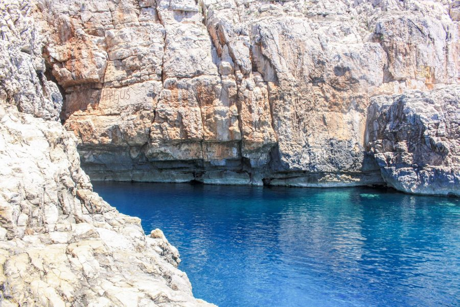 The entrance to Odysseus Cave on Mljet Island, Croatia