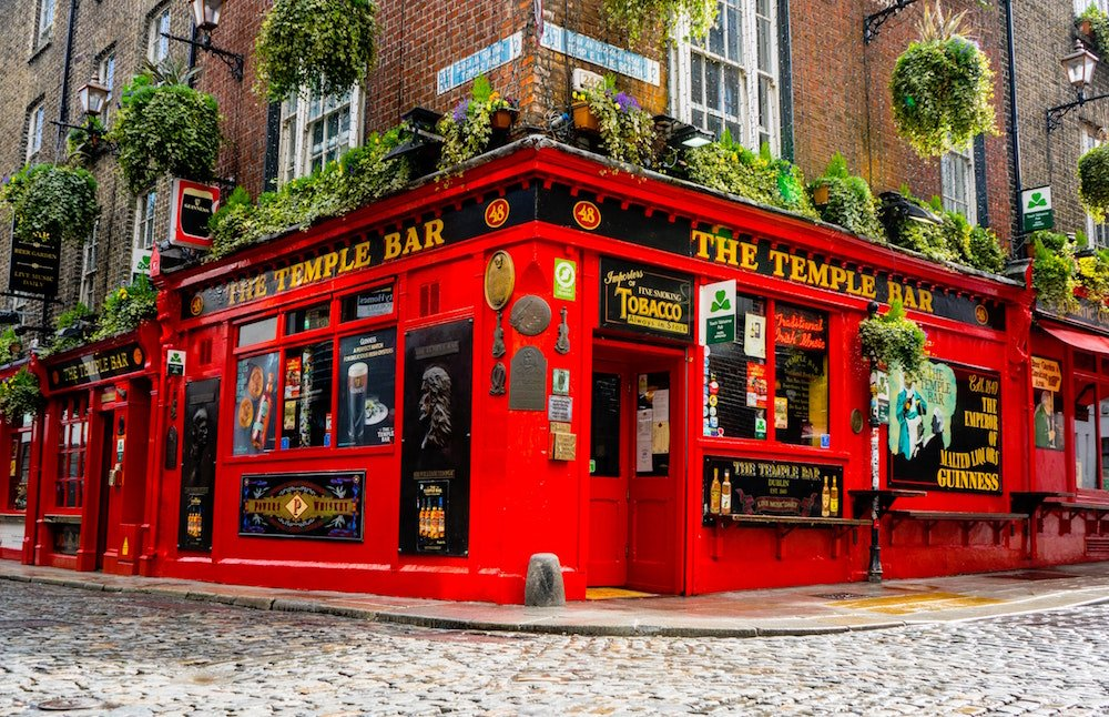 a photo of the red Temple Bar in downtown Dublin ireland