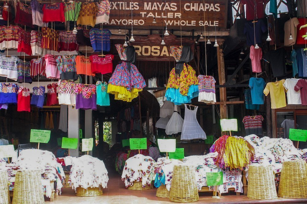 A colorful Mayan clothing shop in Playa del Carmen, Mexico