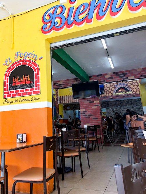 A colorful taco restaurant in Playa del Carmen called El Fogon.