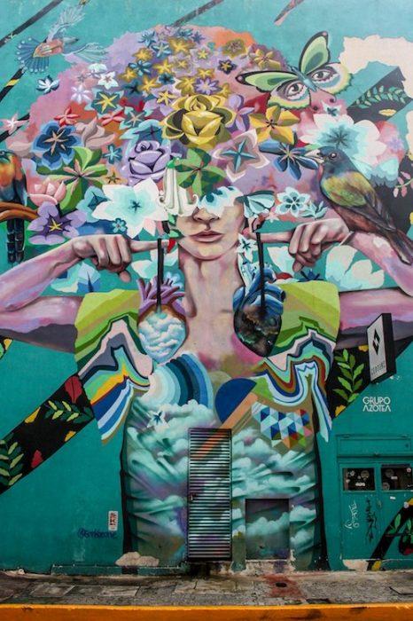 A mural display in Playa del Carmen