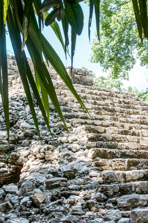 Pyramid at coba ruins in quintana roo, mexico