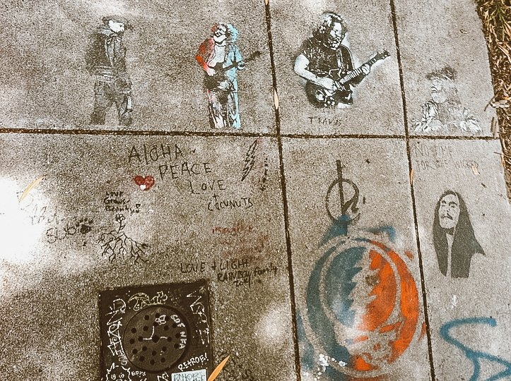 Painted Grateful Dead musicians and symbolism outside of the Grateful Dead House in Haight Ashbury San Francisco