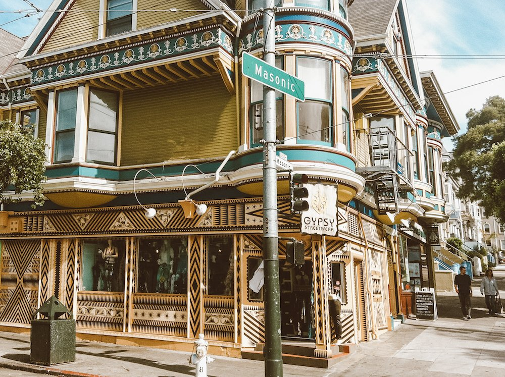 A coloful San Fransico house on Masonic Street in the Haight Ashbury neighborhood of San Francisco