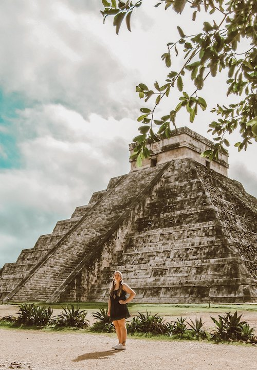 Taylor stands in front of the main pyramid of Chichen Itza -- El Castillo