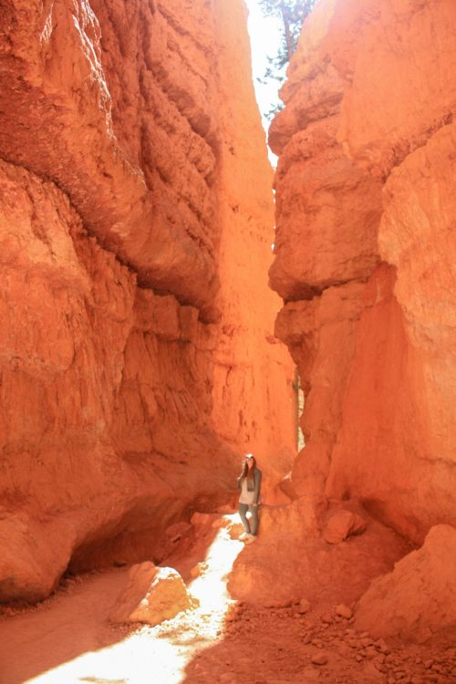 Taylor stands in Wall Street in Bryce Canyon National Park, Utah