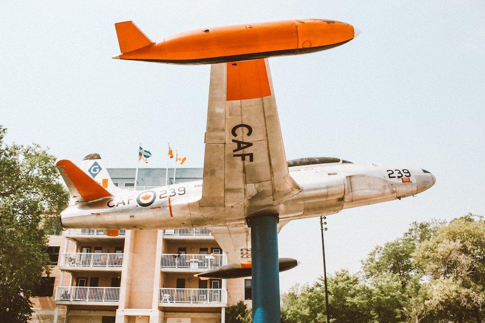 An airplane statue in Gimli, Manitoba