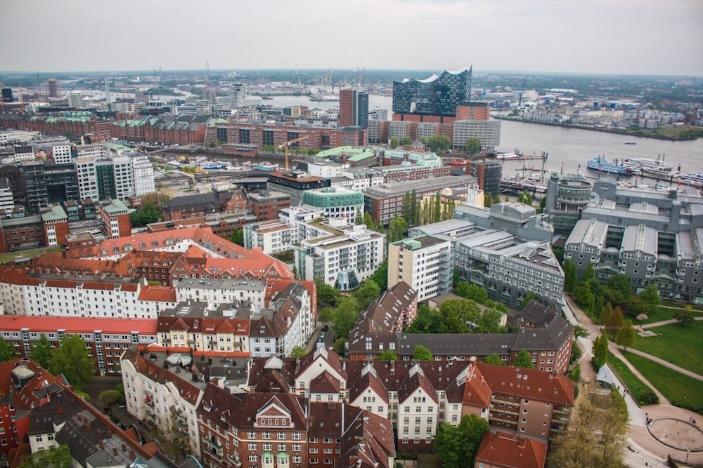 An aerial shot of Hamburg, Germany on a cloudy day
