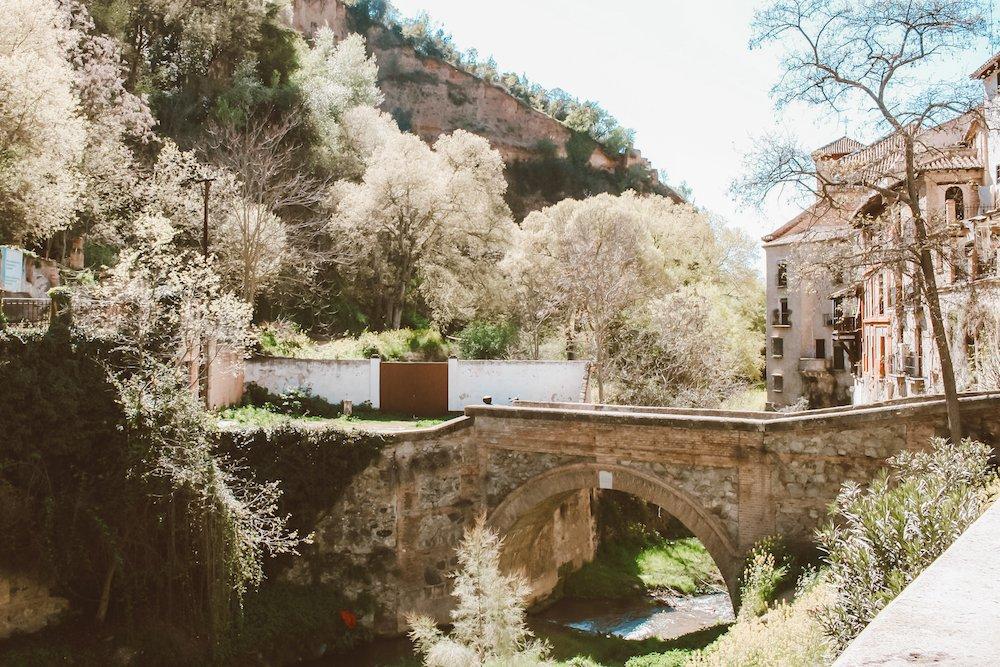 Downtown buildings and a bridge in Granada, Spain