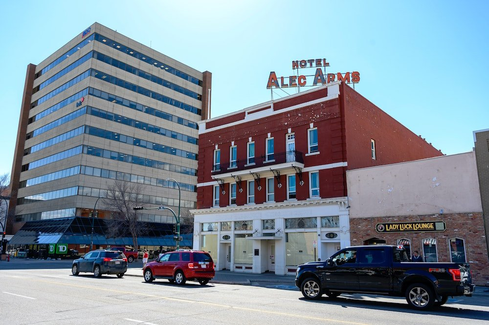A downtown summertime shot of Lethbridge Alberta near the Lady Luck Lounge and Hotel Alec Arms