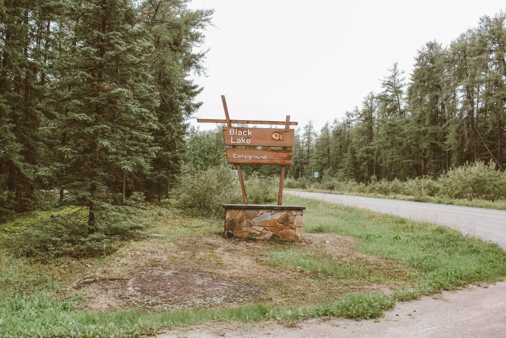 """A brown sign that says """"Black Lake Campground"""" surrounded by trees and a road"""